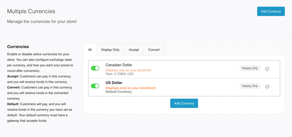Screenshot of Bold Multi Currency Interface