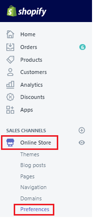 Shopify online store preferences.