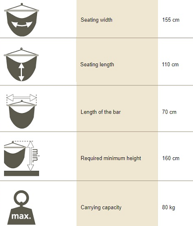 Children's hammock chair dimensions