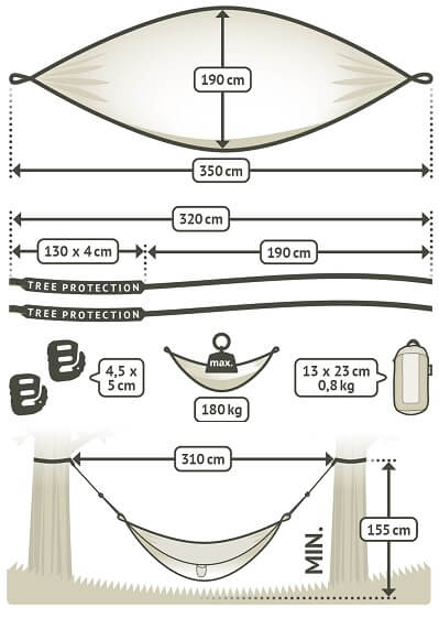 double size travel hammock dimensions