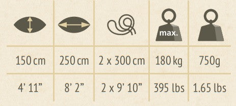 single size travel hammock dimensions