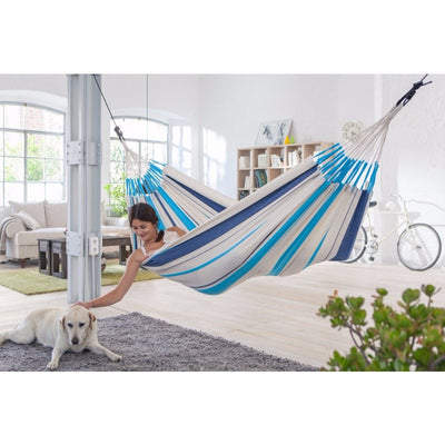 indoor blue and white cotton hammock
