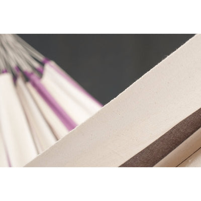 Colombian cotton hammock in purple and white