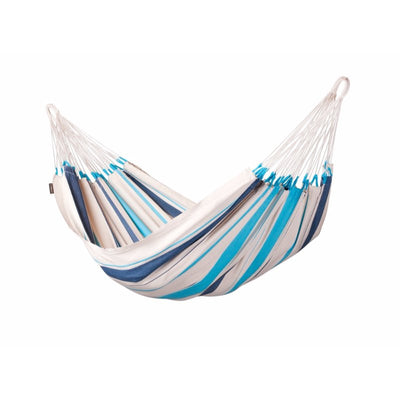 blue and white cotton hammock