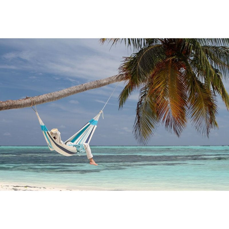 Single aqua blue hammock