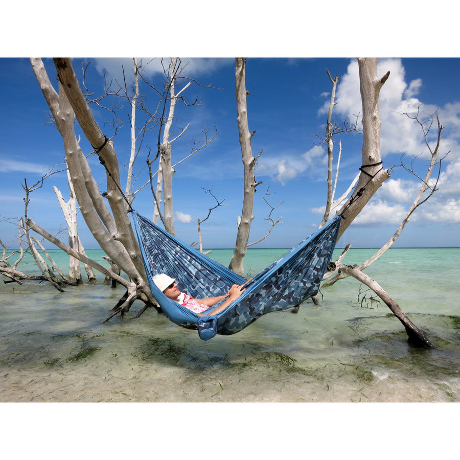 Double Travel Hammock - Camo - Blue