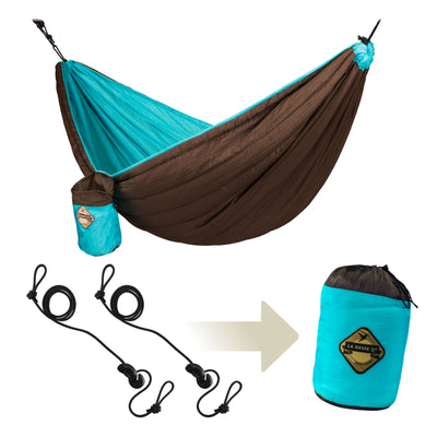 Travel hammock inclusive hanging package
