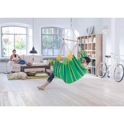 green indoor chair hammock