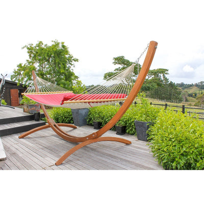 Large wooden hammock stand and hammock on deck