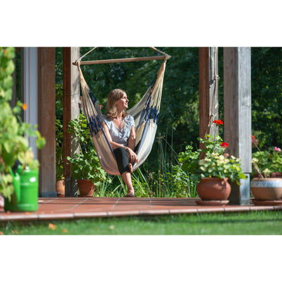Weather-resistant outdoor chair hammock in blues and white