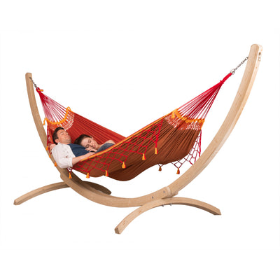 Two Person Hammock on Wooden Stand