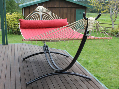 Arc Shaped Hammock Stand and Spreader Bar Hammock - Red