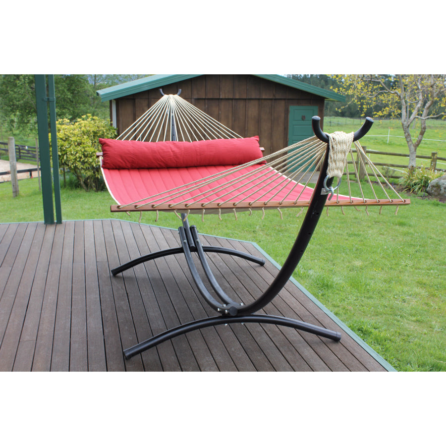 black curved metal hammock stand