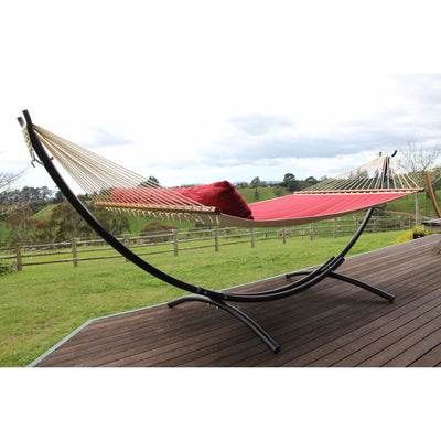 spreader bar hammock with black freestanding hammock