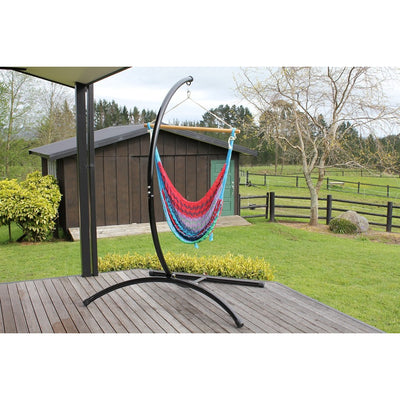 Curved hammock chair stand and hammock chair