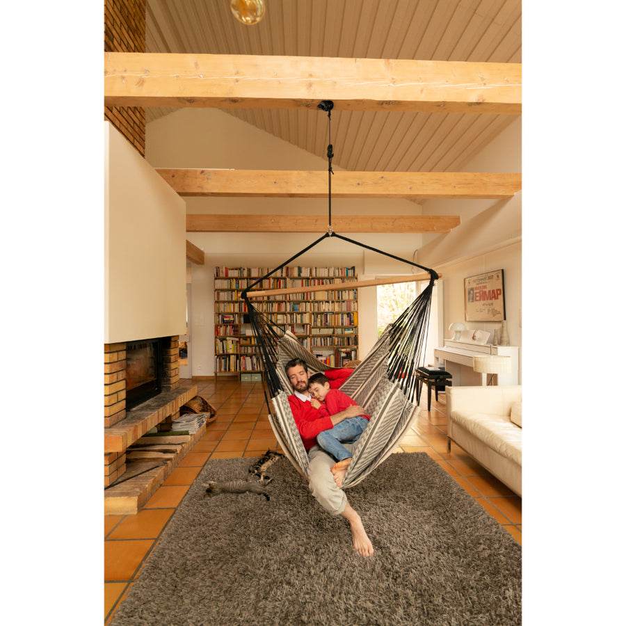 Extra large size chair hammock in cream, black and white