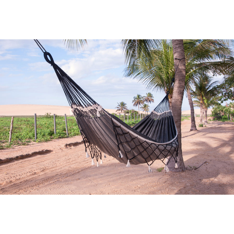 Double size cotton black hammock