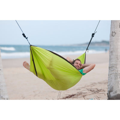 Single green parachute silk hammock