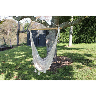 Mexican white chair hammock woven cotton