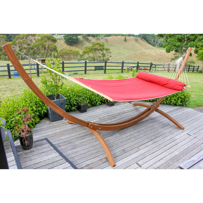 Arc Shaped Wooden Hammock Stand and Large Bar Hammock