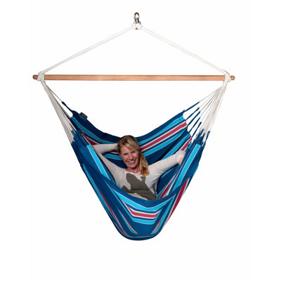 Blue coloured cotton king size chair hammock