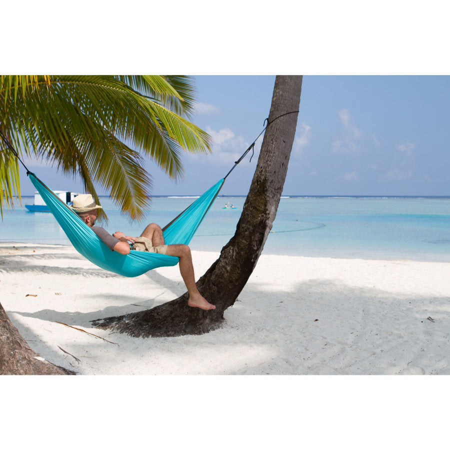 single turquoise travel hammock