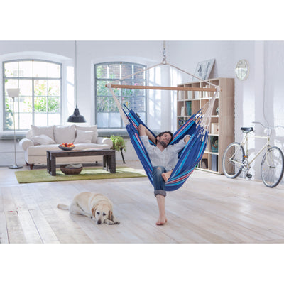 Indoor blue cotton chair hammock