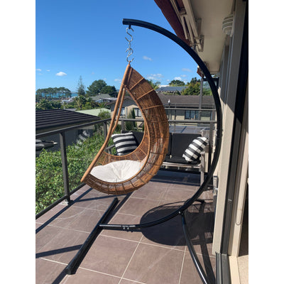 Chair hammock stand with hanging egg chair on balcony