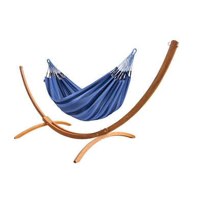 Double Hammock and Wooden Hammock Stand