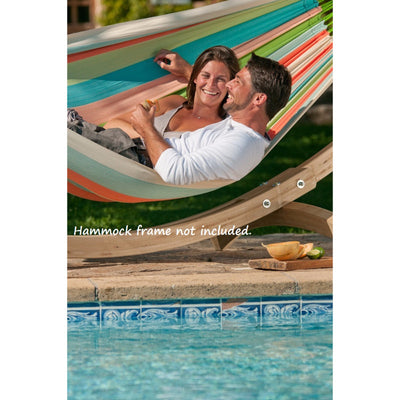 family hammock beside swimming pool