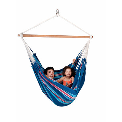 Adult and child in hammock chair