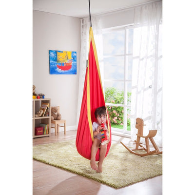 red and yellow hanging chair swing