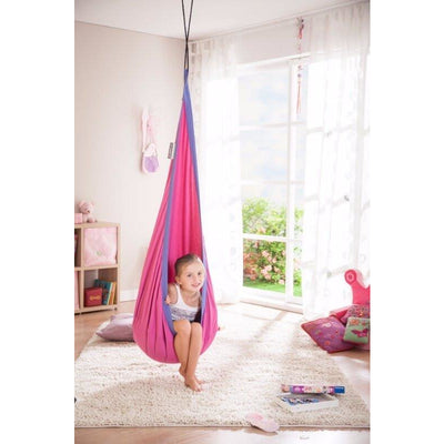 hanging nest chair in pink and purple colour