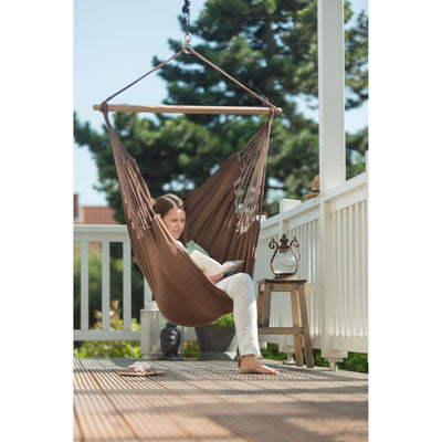 Hammock swing chair on deck