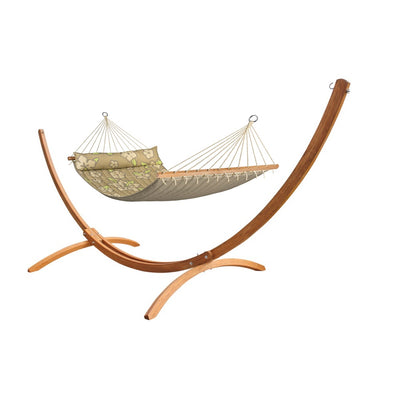 Curved wooden hammock stand with bar style hammock in beige