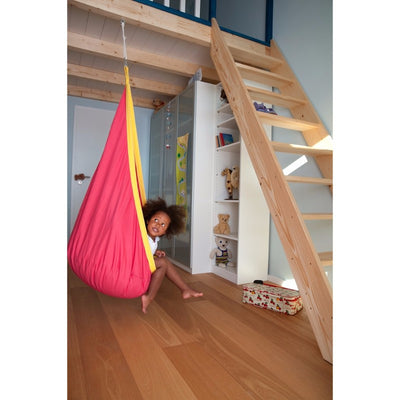 child's hanging nest red chair
