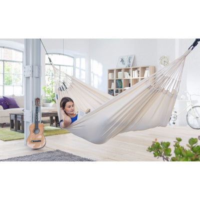 indoor white cotton hammock