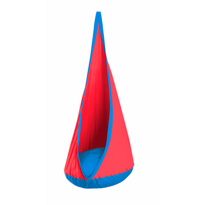 blue and red hang chair for children