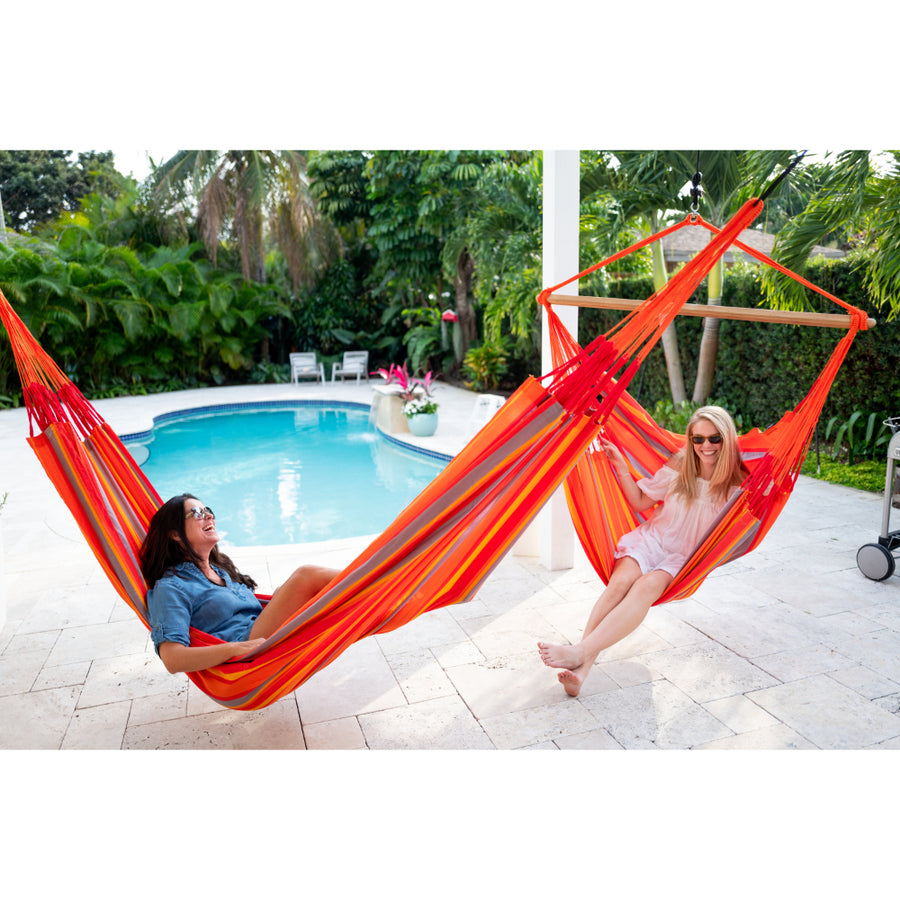 Mother and child in XL size chair hammock