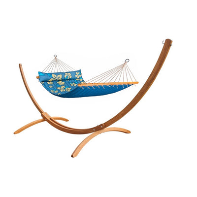 Wooden Hammock Stand with Blue Hammock