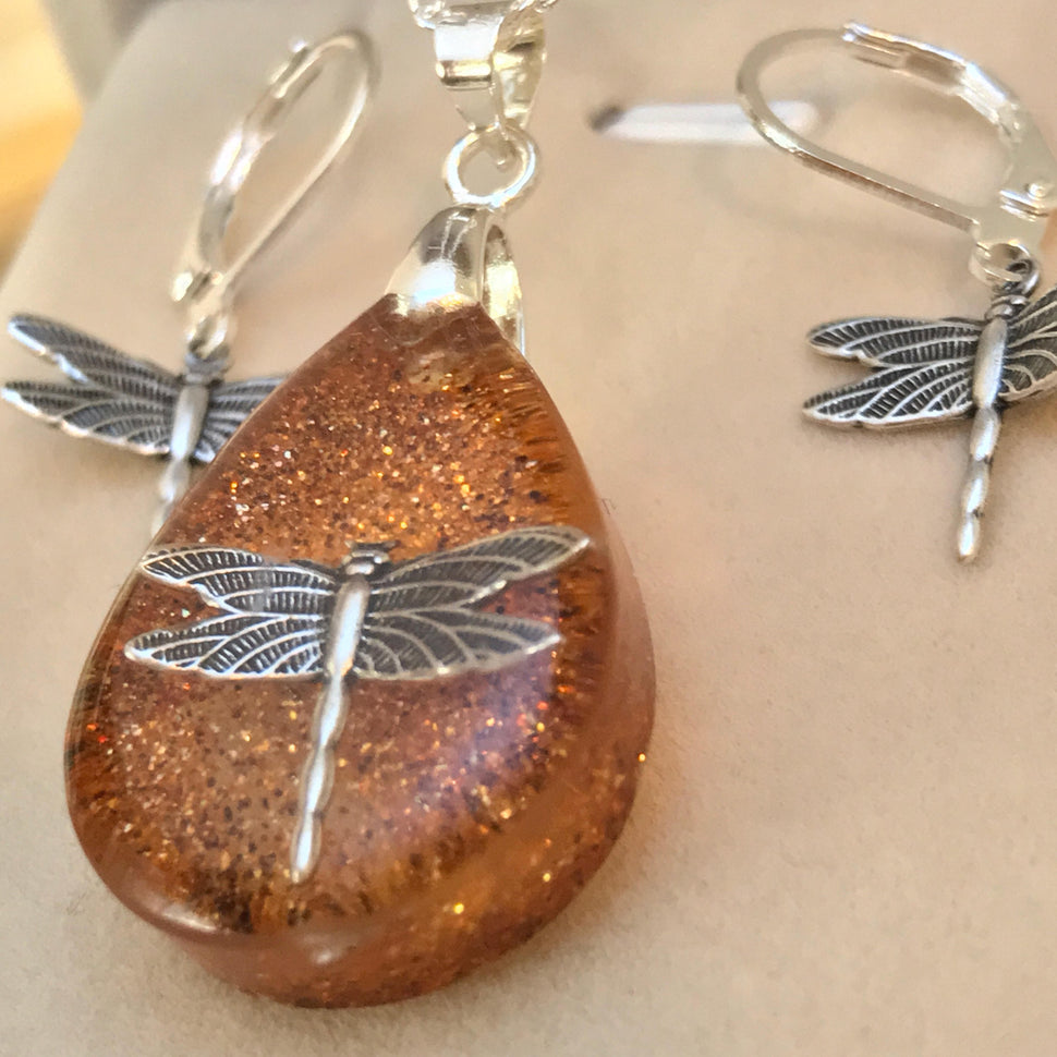 Dragonfly in Amber Pendant