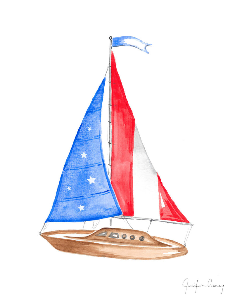 Red White & Blue Sailboat Art