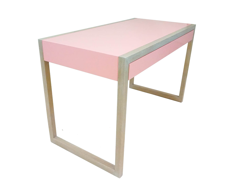 Pink Cerused Oak Desk