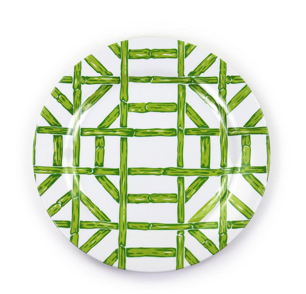 Green Bamboo Melamine Luncheon Plate