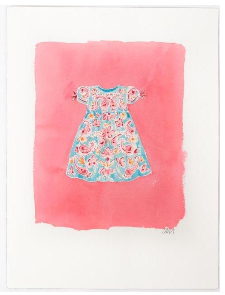 Blue Dress Painting on Pink
