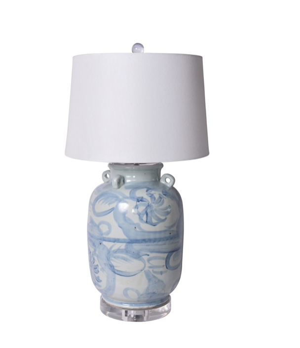 Blue and White Pagoda Flower Lamp