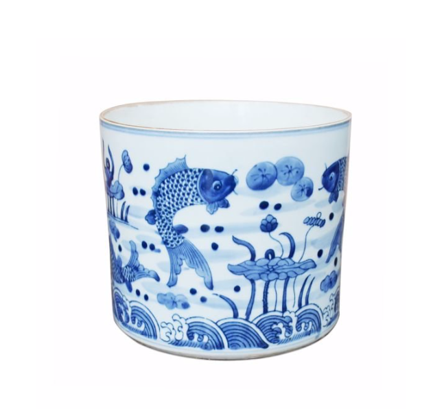 Blue and White Fish Orchid Pot