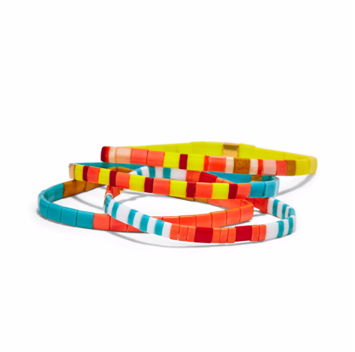 Glass Tile Bead Bracelet
