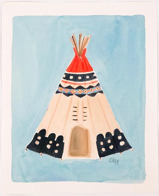 Original Teepee Paintings on Blue