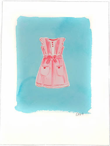 Pink Dress Paintings on Blue